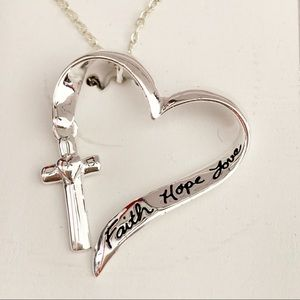 Heart cross necklace faith hope love sterling